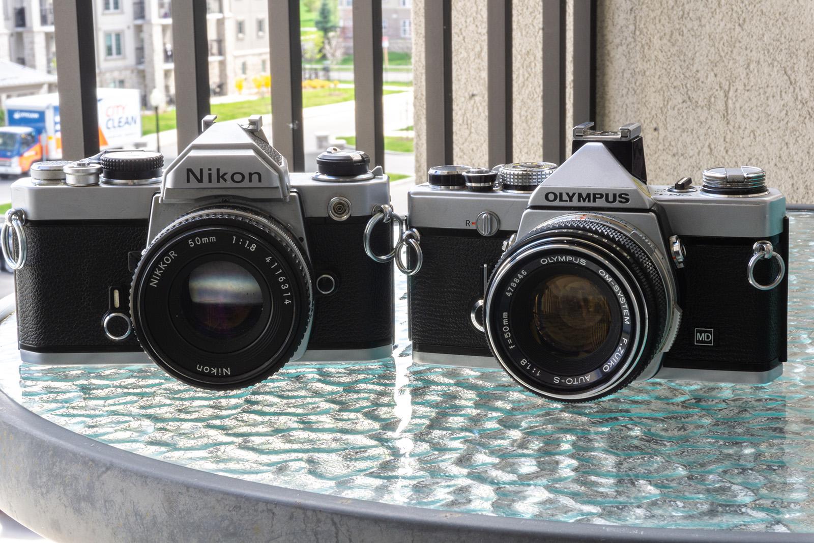 Nikon FM and Olympus OM-1n