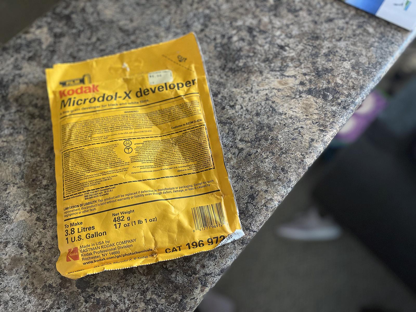 Yellow Pouch of Developer Kodak Microdol X
